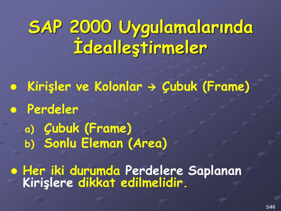 SAP 2000 Uygulamalarında İdealleştirmeler