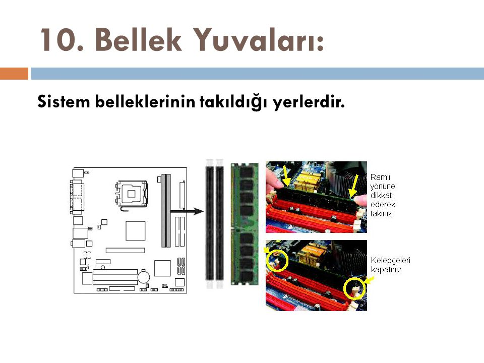 10. Bellek Yuvaları: Sistem belleklerinin takıldığı yerlerdir.