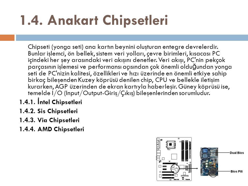 1.4. Anakart Chipsetleri 1.4.1. İntel Chipsetleri