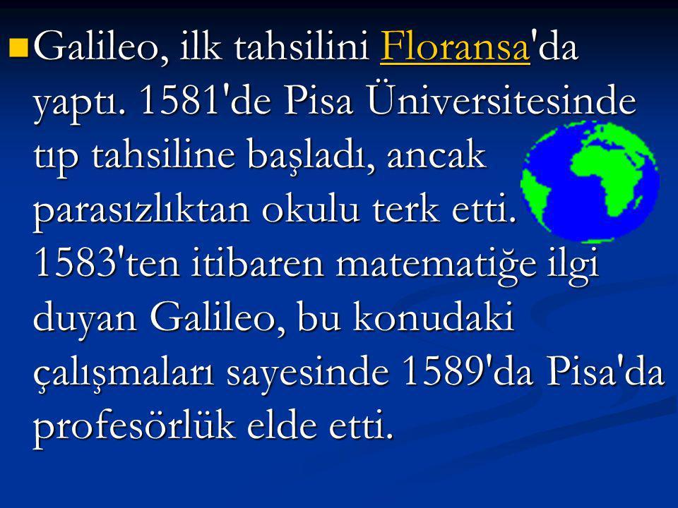 Galileo, ilk tahsilini Floransa da yaptı