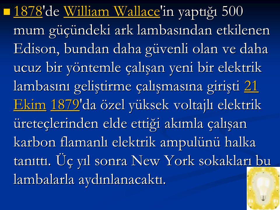1878 de William Wallace in yaptığı 500 mum güçündeki ark lambasından etkilenen Edison, bundan daha güvenli olan ve daha ucuz bir yöntemle çalışan yeni bir elektrik lambasını geliştirme çalışmasına girişti 21 Ekim 1879 da özel yüksek voltajlı elektrik üreteçlerinden elde ettiği akımla çalışan karbon flamanlı elektrik ampulünü halka tanıttı.