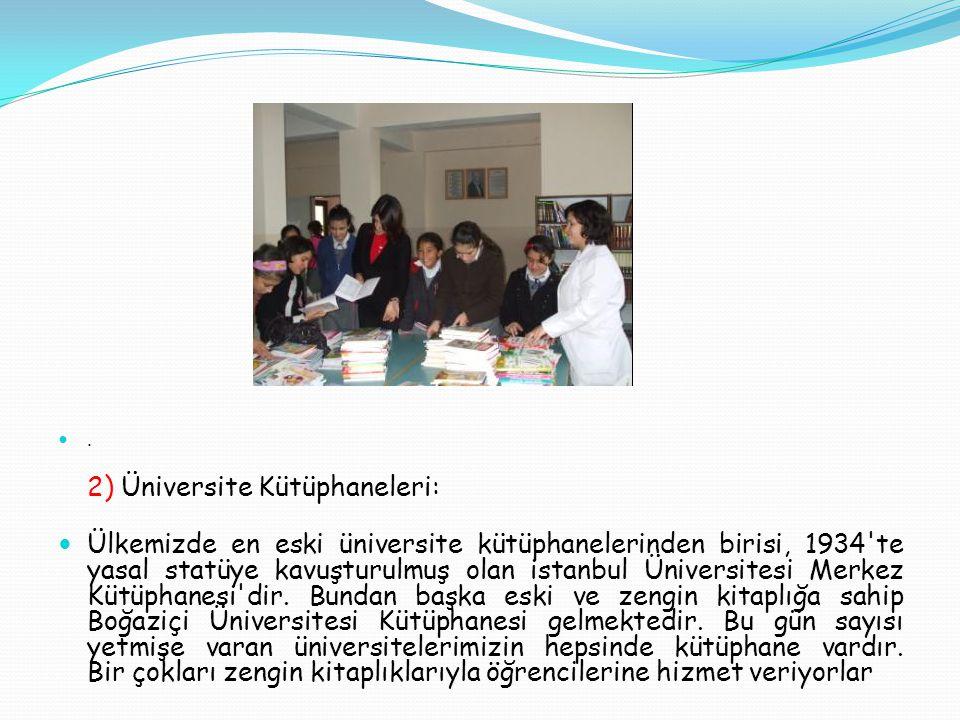 . 2) Üniversite Kütüphaneleri: