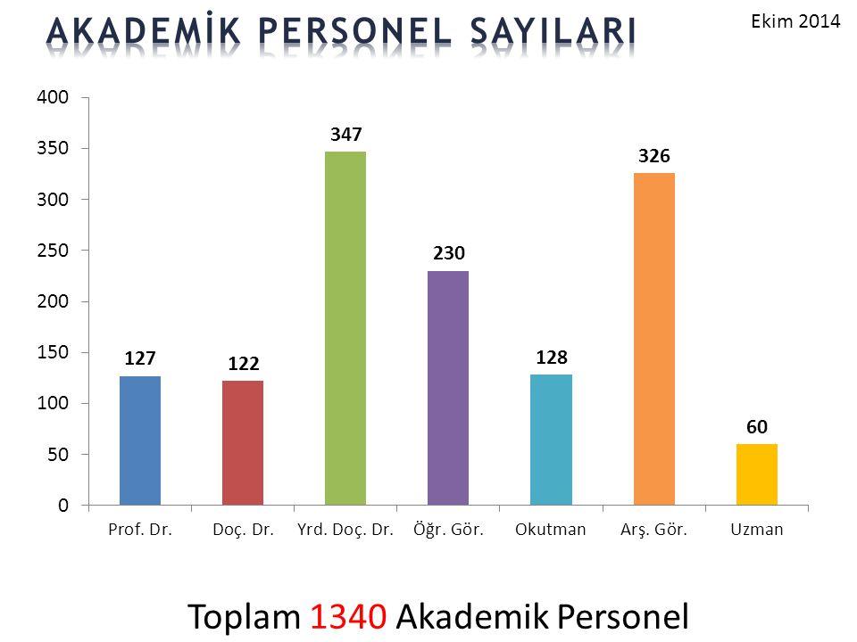 Toplam 1340 Akademik Personel