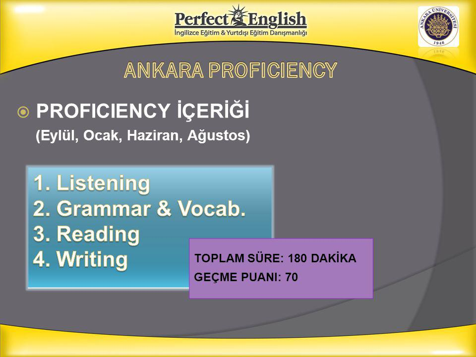 ANKARA PROFICIENCY 1. Listening 2. Grammar & Vocab. 3. Reading