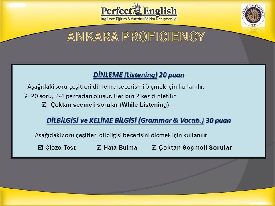 DİLBİLGİSİ ve KELİME BİLGİSİ (Grammar & Vocab.) 30 puan
