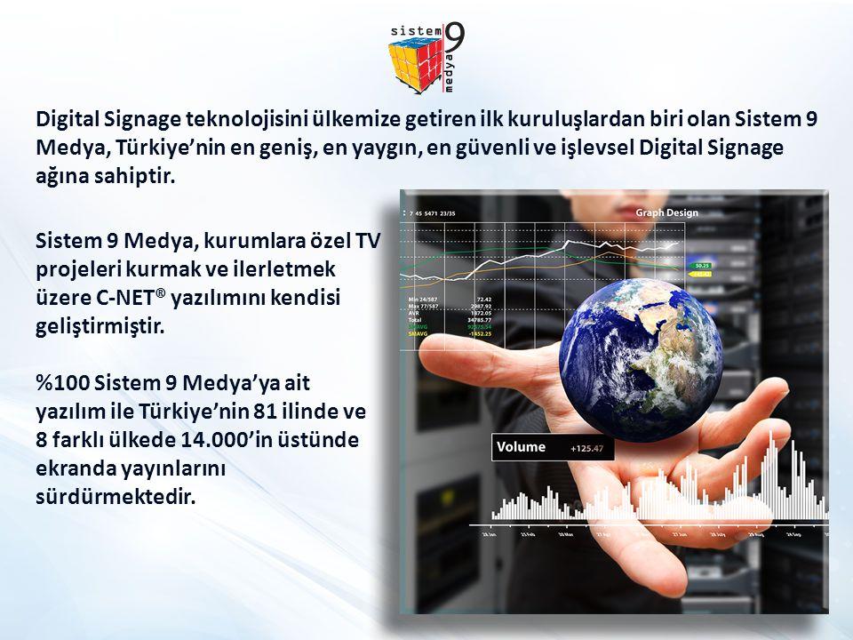 Digital Signage teknolojisini ülkemize getiren ilk kuruluşlardan biri olan Sistem 9 Medya, Türkiye'nin en geniş, en yaygın, en güvenli ve işlevsel Digital Signage ağına sahiptir.