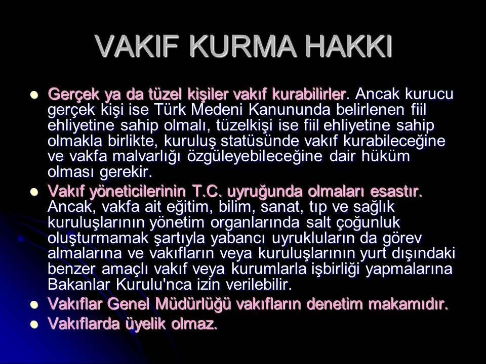 VAKIF KURMA HAKKI