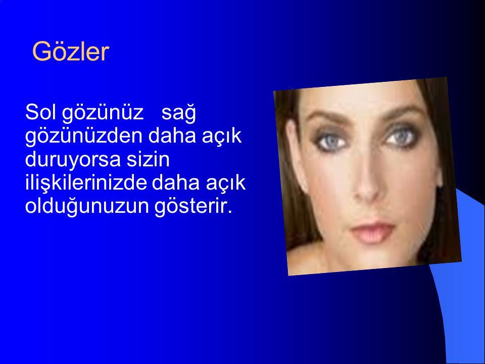 Gözler Sol gözünüz sağ gözünüzden daha açık duruyorsa sizin ilişkilerinizde daha açık olduğunuzun gösterir.