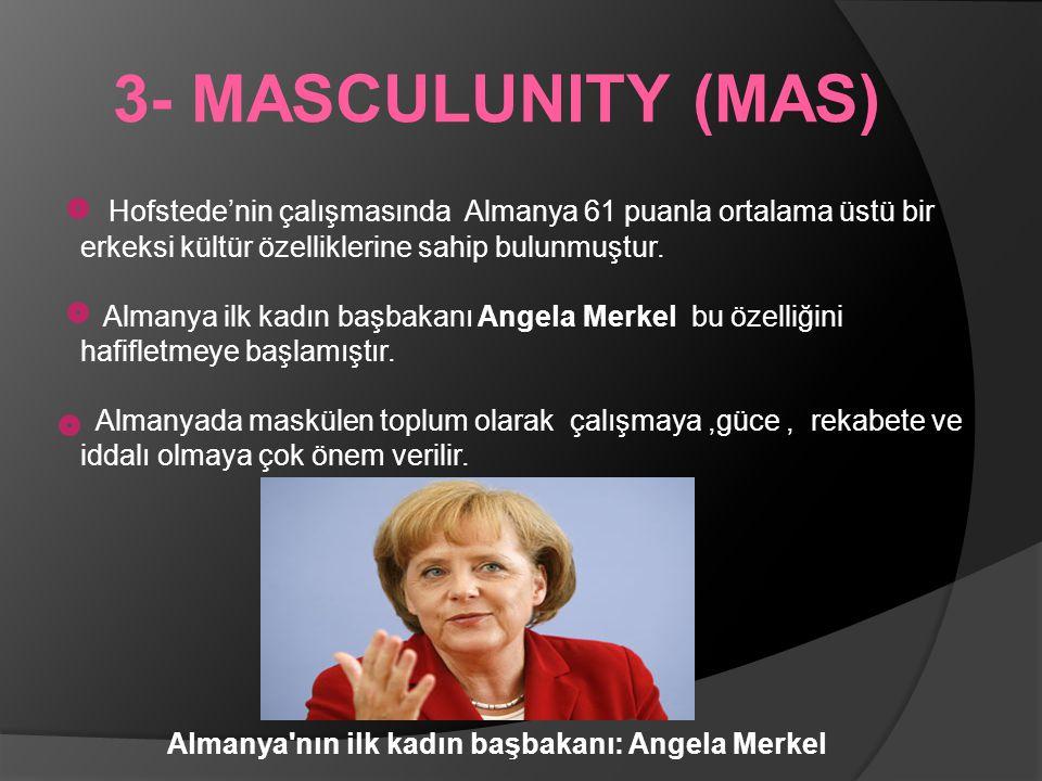 3- MASCULUNITY (MAS) Hofstede'nin çalışmasında Almanya 61 puanla ortalama üstü bir erkeksi kültür özelliklerine sahip bulunmuştur.
