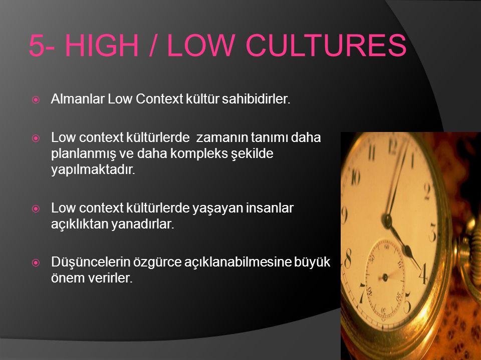 5- HIGH / LOW CULTURES Almanlar Low Context kültür sahibidirler.