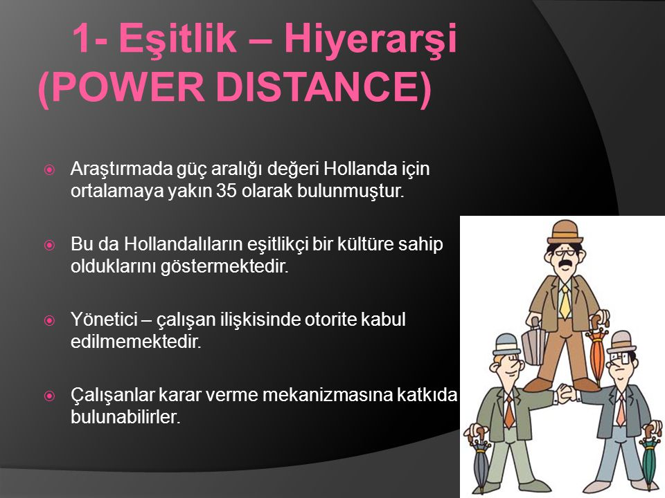 1- Eşitlik – Hiyerarşi (POWER DISTANCE)