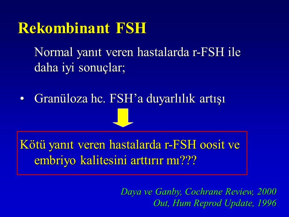 Rekombinant FSH Normal yanıt veren hastalarda r-FSH ile daha iyi sonuçlar; Granüloza hc. FSH'a duyarlılık artışı.