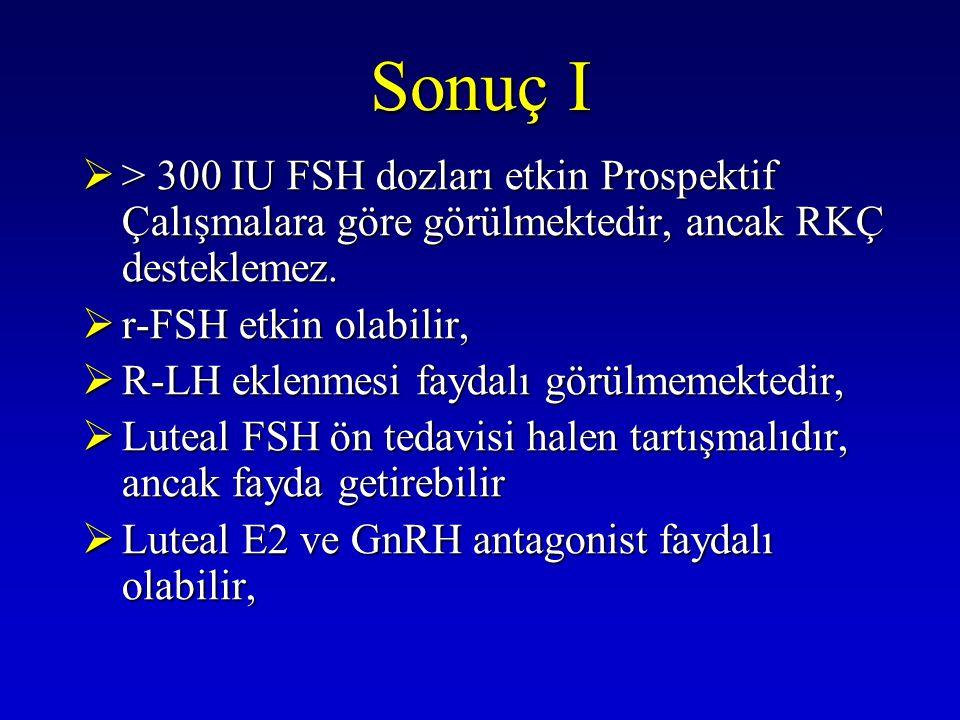 Sonuç I > 300 IU FSH dozları etkin Prospektif Çalışmalara göre görülmektedir, ancak RKÇ desteklemez.