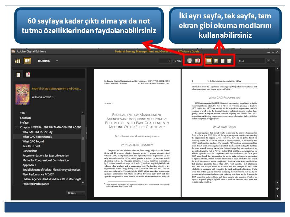 60 sayfaya kadar çıktı alma ya da not tutma özelliklerinden faydalanabilirsiniz