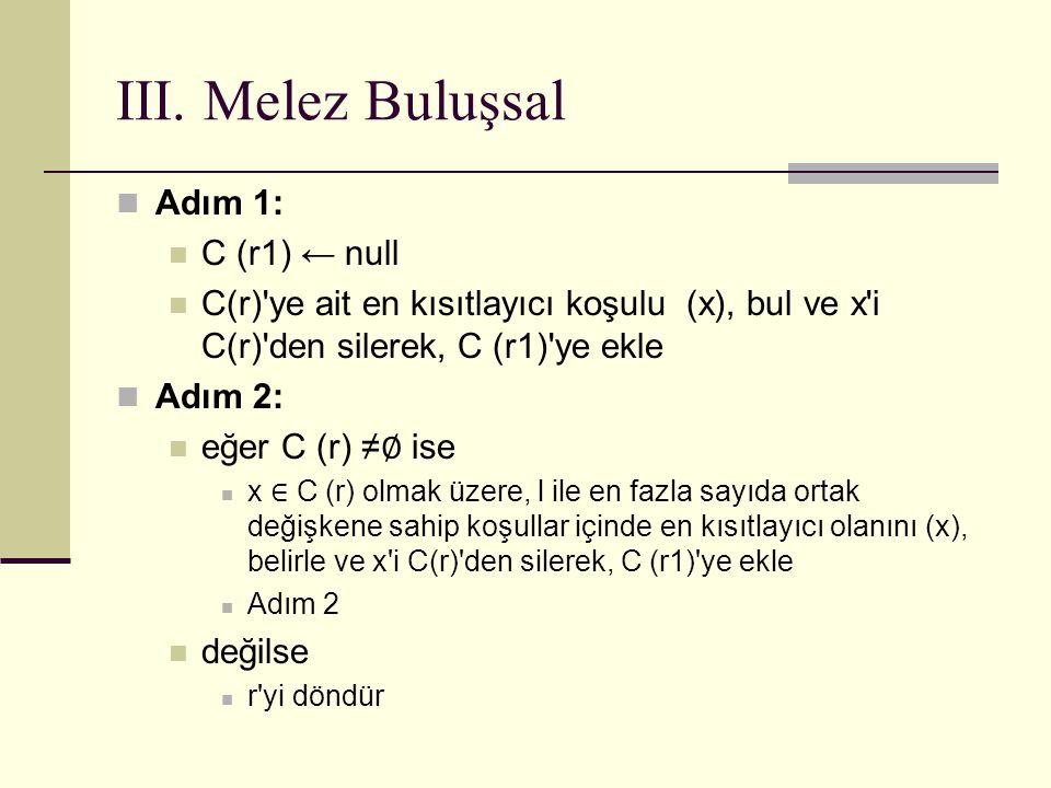 III. Melez Buluşsal Adım 1: C (r1) ← null