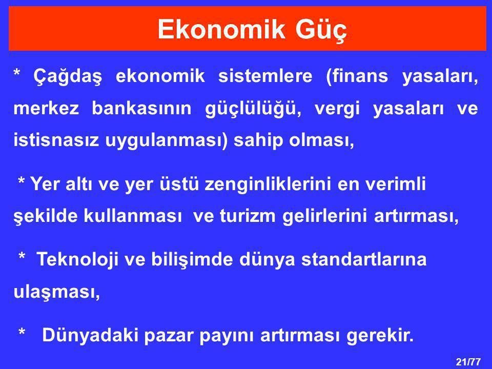 Ekonomik Güç * Çağdaş ekonomik sistemlere (finans yasaları, merkez bankasının güçlülüğü, vergi yasaları ve istisnasız uygulanması) sahip olması,