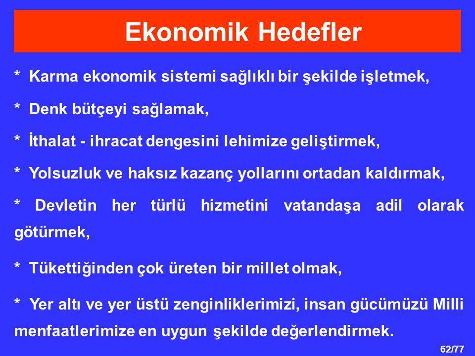 Ekonomik Hedefler * Karma ekonomik sistemi sağlıklı bir şekilde işletmek, * Denk bütçeyi sağlamak,