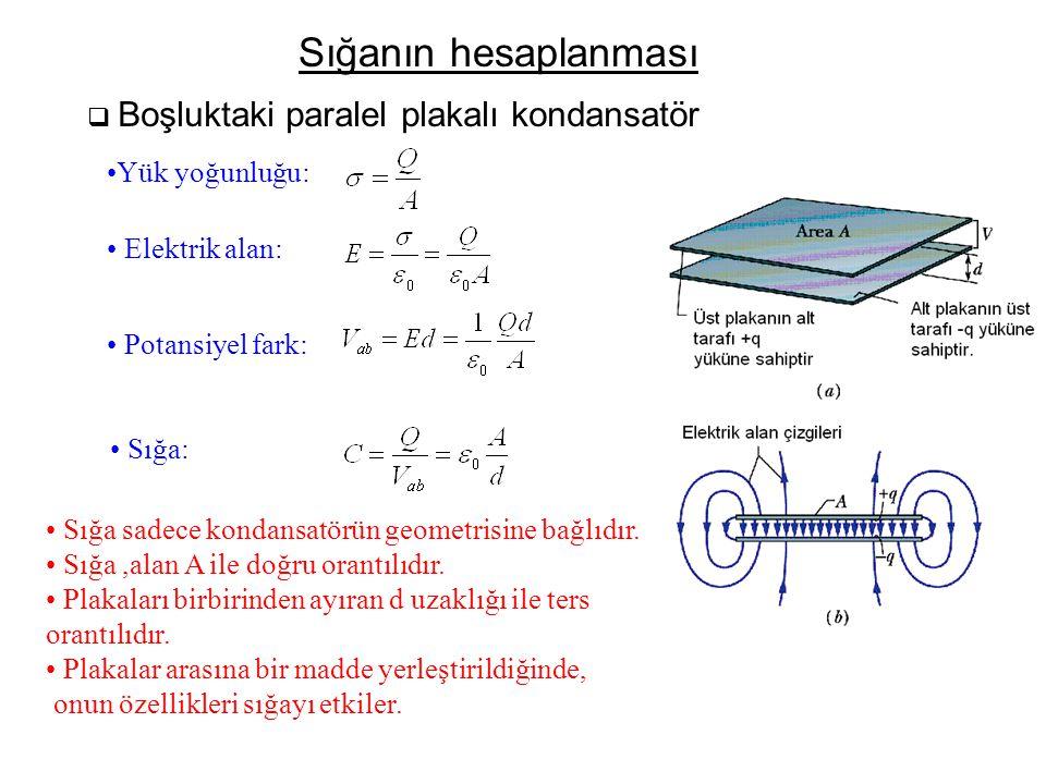 Sığanın hesaplanması Yük yoğunluğu: Elektrik alan: Potansiyel fark: