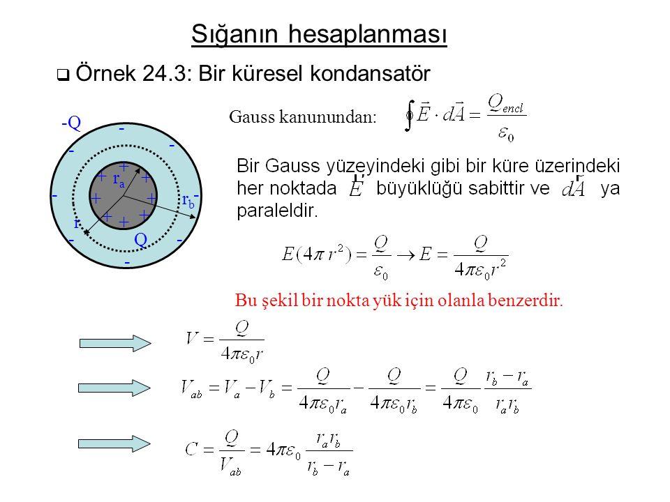 Sığanın hesaplanması Gauss kanunundan: -Q - - - + + ra + - - + + rb +