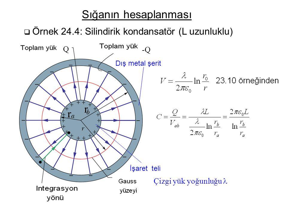 Sığanın hesaplanması r r Q -Q Çizgi yük yoğunluğu l