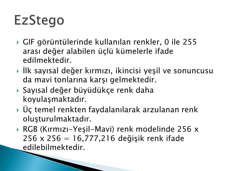 EzStego GIF görüntülerinde kullanılan renkler, 0 ile 255 arası değer alabilen üçlü kümelerle ifade edilmektedir.
