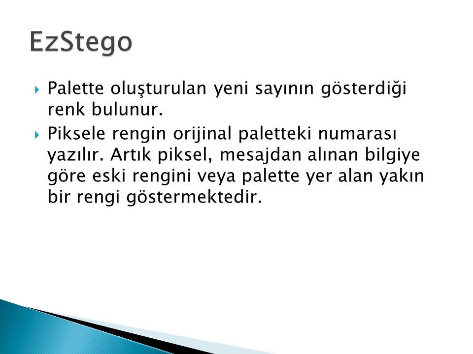 EzStego Palette oluşturulan yeni sayının gösterdiği renk bulunur.