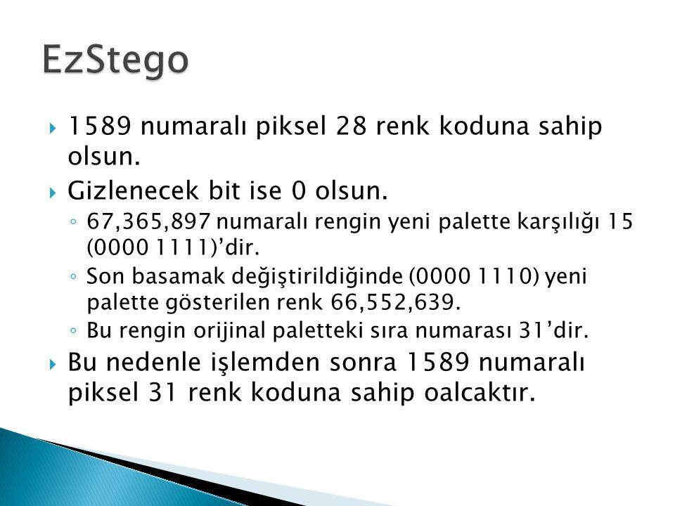 EzStego 1589 numaralı piksel 28 renk koduna sahip olsun.