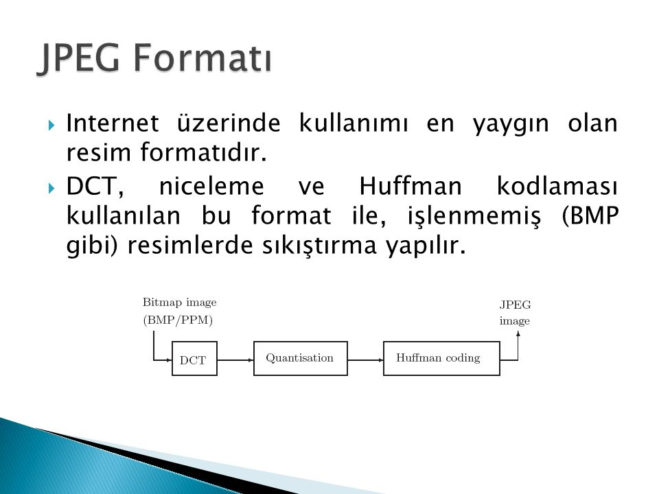 JPEG Formatı Internet üzerinde kullanımı en yaygın olan resim formatıdır.