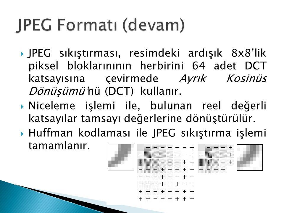 JPEG Formatı (devam)