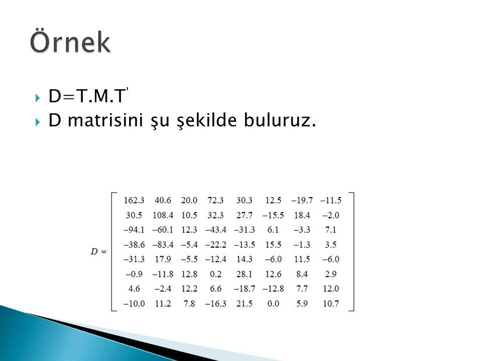 Örnek D=T.M.T D matrisini şu şekilde buluruz.