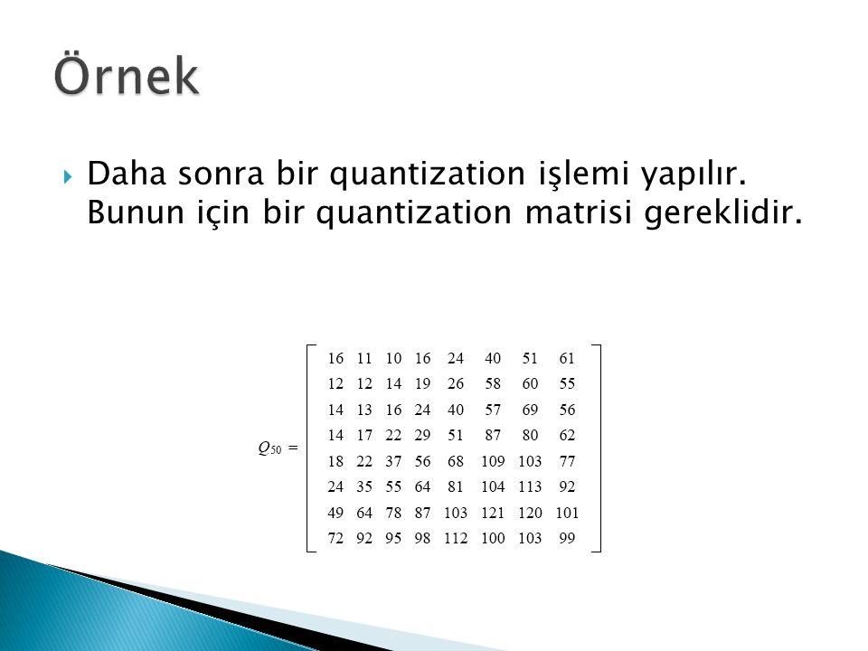 Örnek Daha sonra bir quantization işlemi yapılır. Bunun için bir quantization matrisi gereklidir.