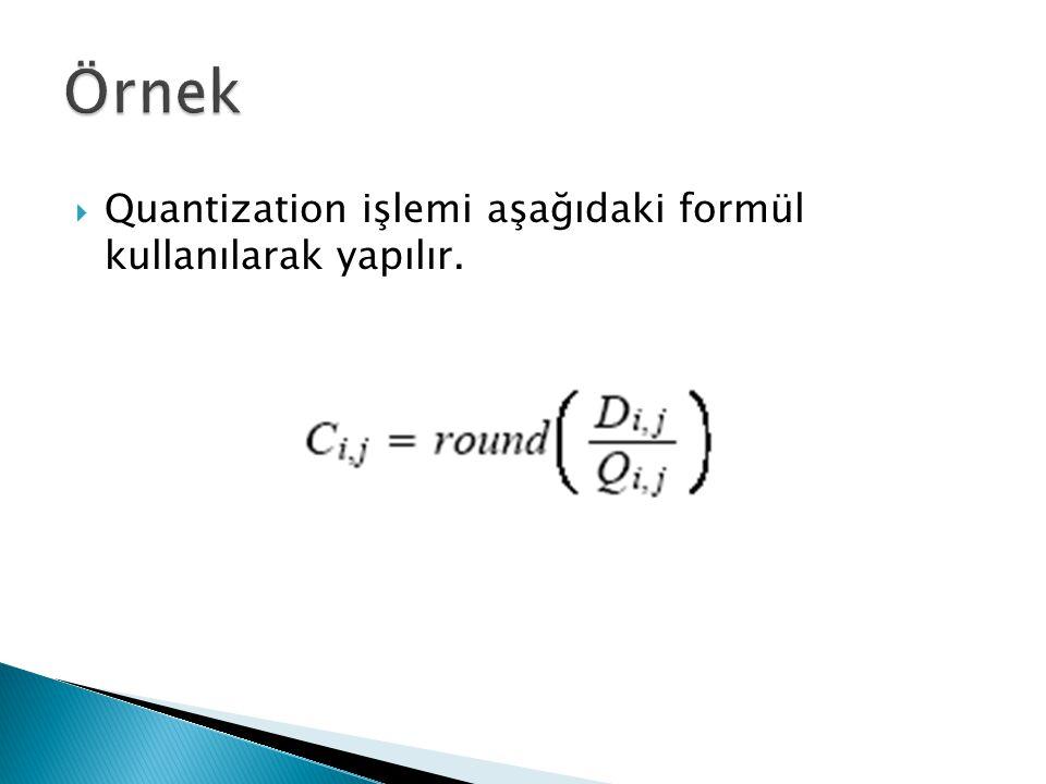 Örnek Quantization işlemi aşağıdaki formül kullanılarak yapılır.