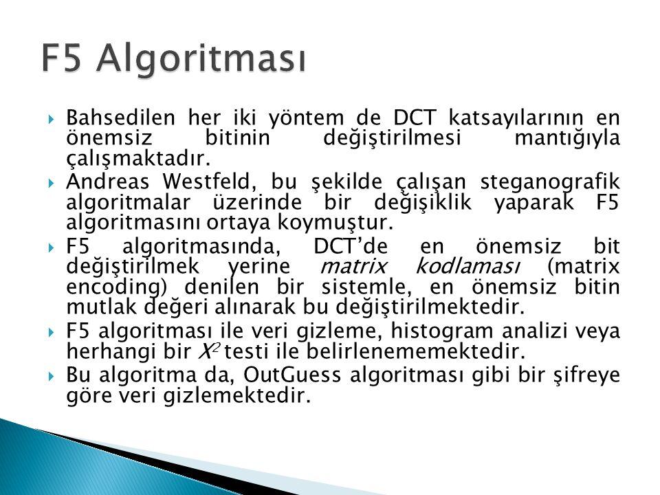F5 Algoritması Bahsedilen her iki yöntem de DCT katsayılarının en önemsiz bitinin değiştirilmesi mantığıyla çalışmaktadır.