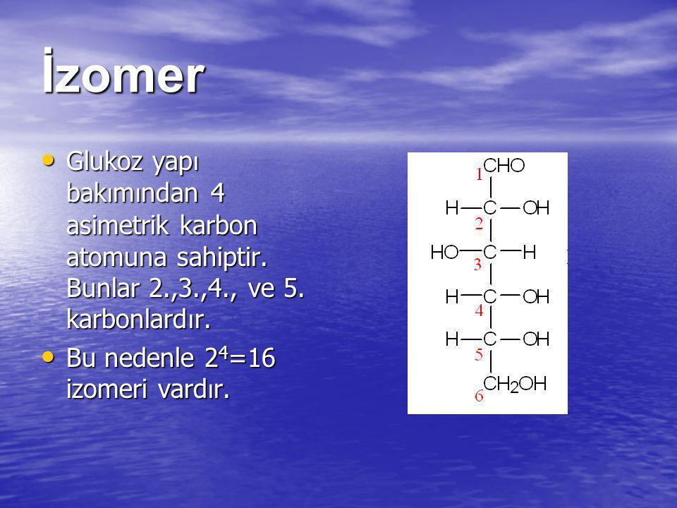 İzomer Glukoz yapı bakımından 4 asimetrik karbon atomuna sahiptir. Bunlar 2.,3.,4., ve 5. karbonlardır.