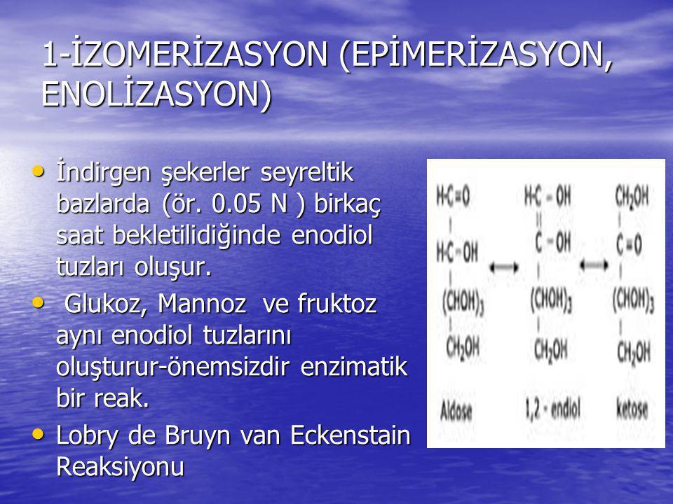 1-İZOMERİZASYON (EPİMERİZASYON, ENOLİZASYON)