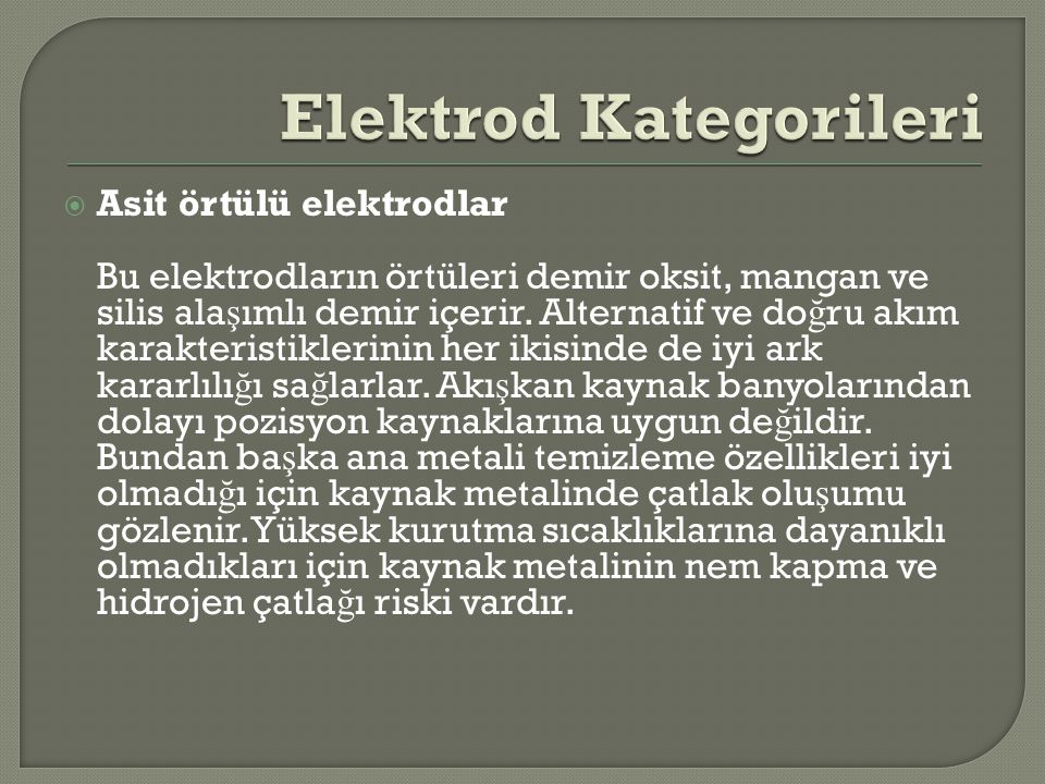 Elektrod Kategorileri