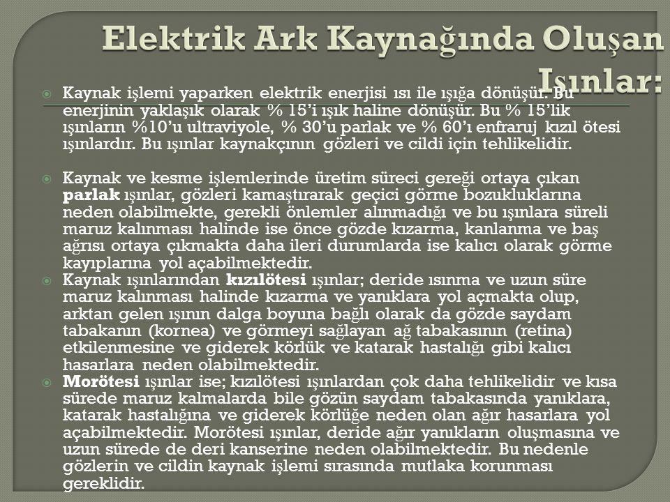 Elektrik Ark Kaynağında Oluşan Işınlar: