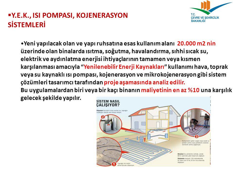 Y.E.K., ISI POMPASI, KOJENERASYON SİSTEMLERİ