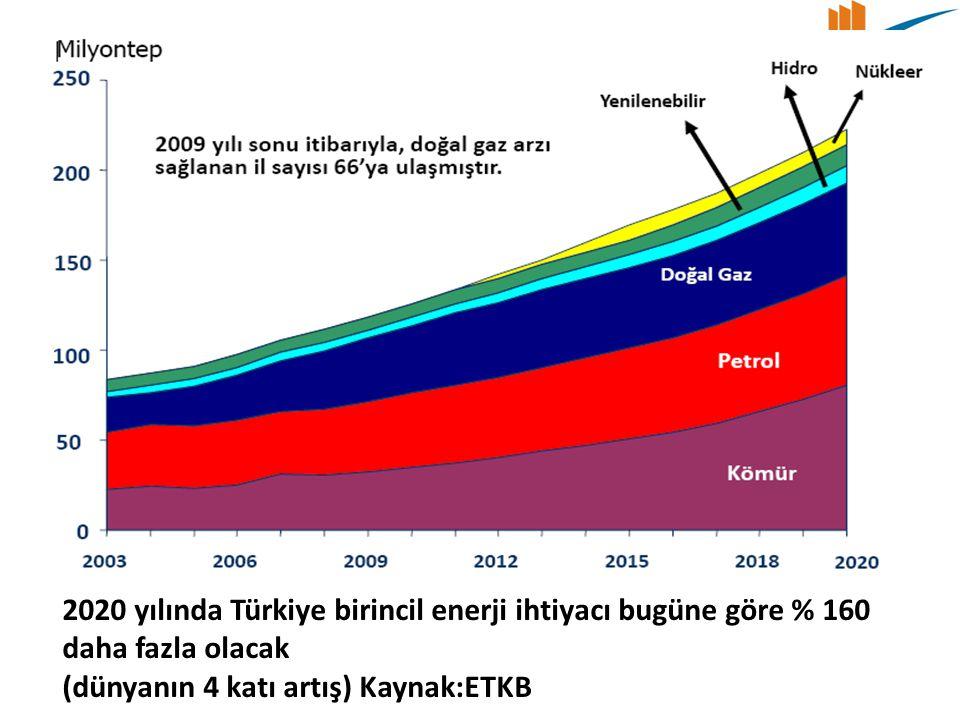 2020 yılında Türkiye birincil enerji ihtiyacı bugüne göre % 160 daha fazla olacak