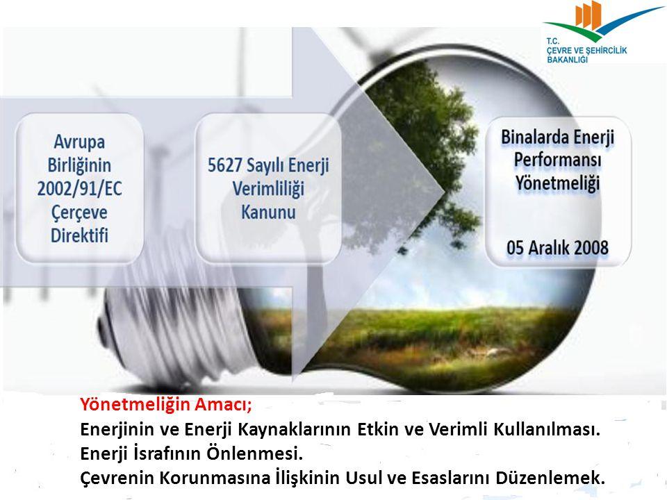 Yönetmeliğin Amacı; Enerjinin ve Enerji Kaynaklarının Etkin ve Verimli Kullanılması.