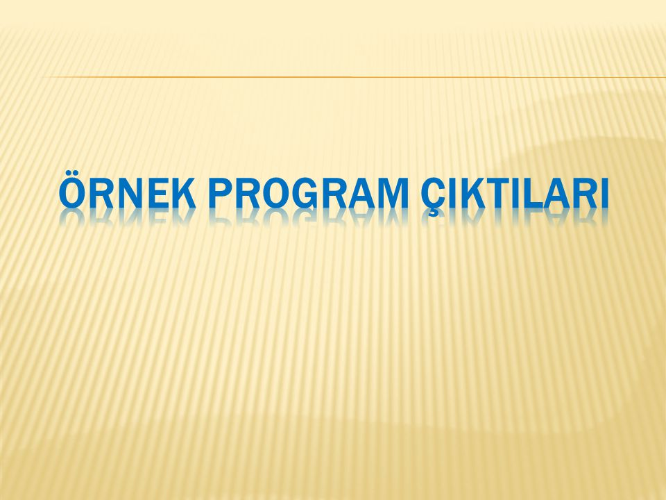 ÖRNEK PROGRAM ÇIKTILARI