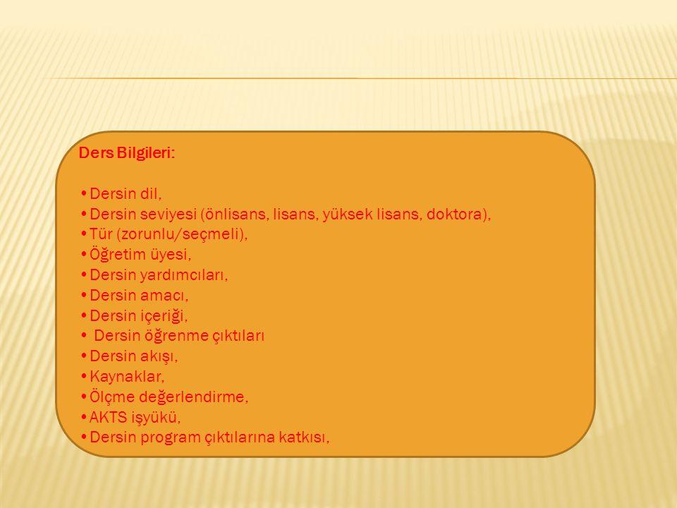 Ders Bilgileri: •Dersin dil, •Dersin seviyesi (önlisans, lisans, yüksek lisans, doktora), •Tür (zorunlu/seçmeli), •Öğretim üyesi, •Dersin yardımcıları, •Dersin amacı, •Dersin içeriği,