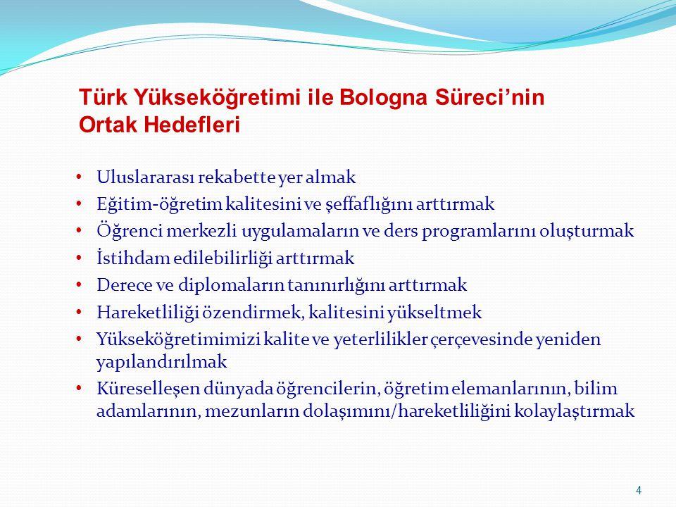 Türk Yükseköğretimi ile Bologna Süreci'nin Ortak Hedefleri
