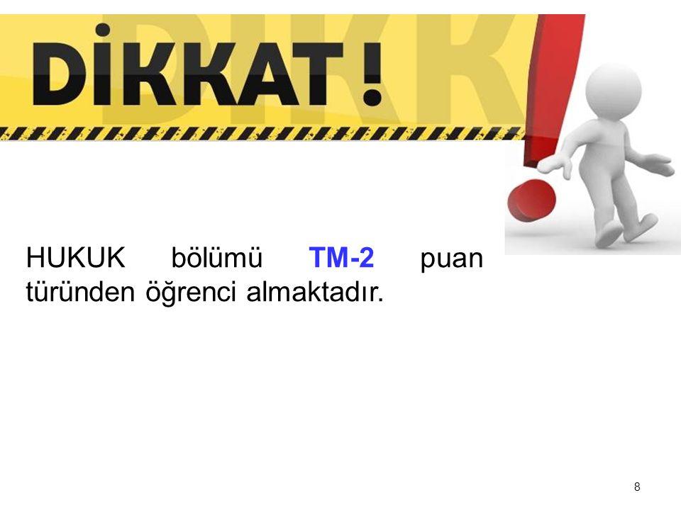 HUKUK bölümü TM-2 puan türünden öğrenci almaktadır.