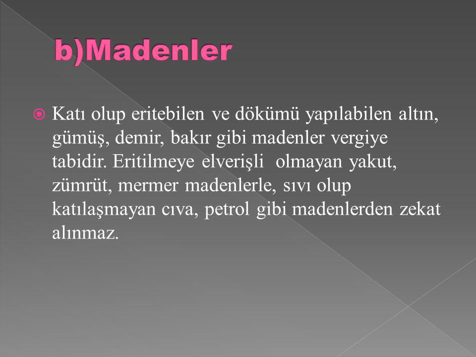 b)Madenler