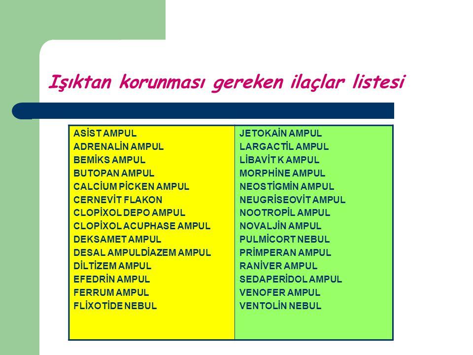 Işıktan korunması gereken ilaçlar listesi