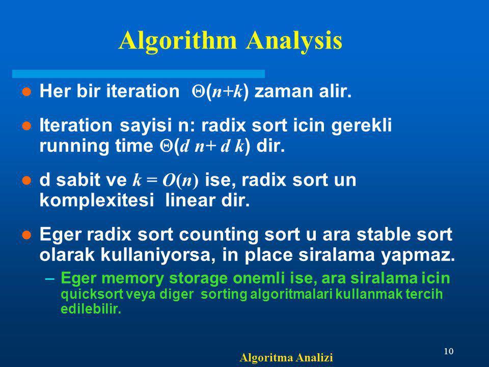 Algorithm Analysis Her bir iteration (n+k) zaman alir.