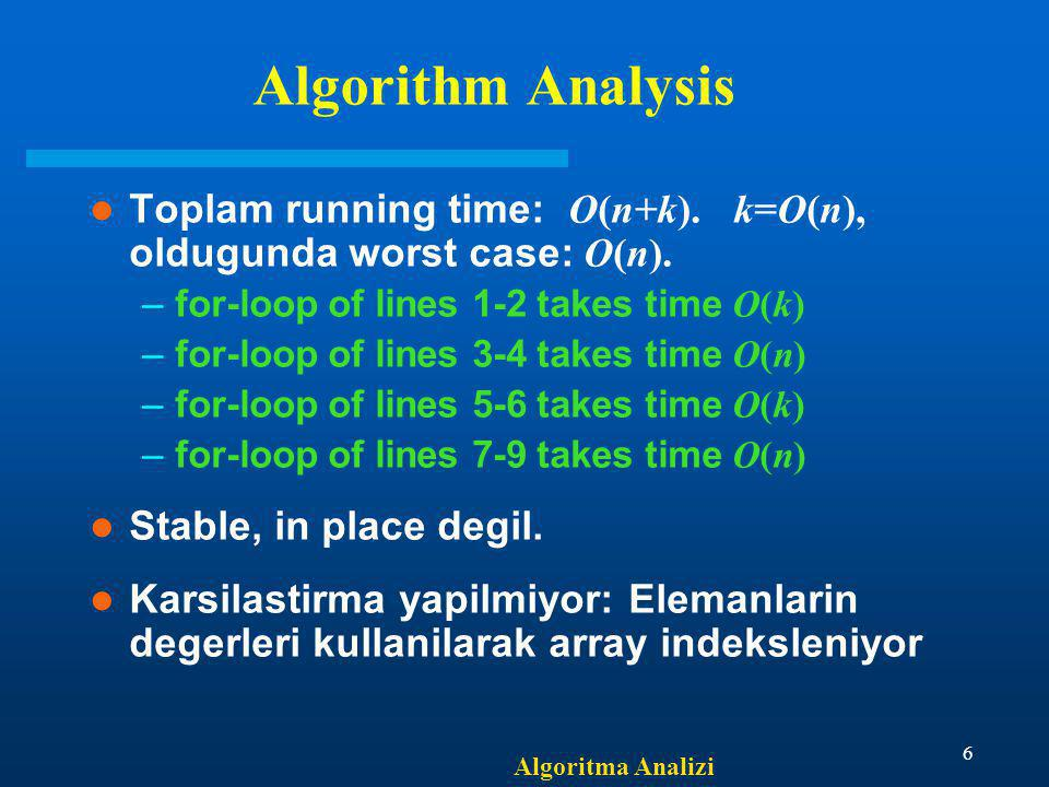 Algorithm Analysis Toplam running time: O(n+k). k=O(n), oldugunda worst case: O(n). for-loop of lines 1-2 takes time O(k)
