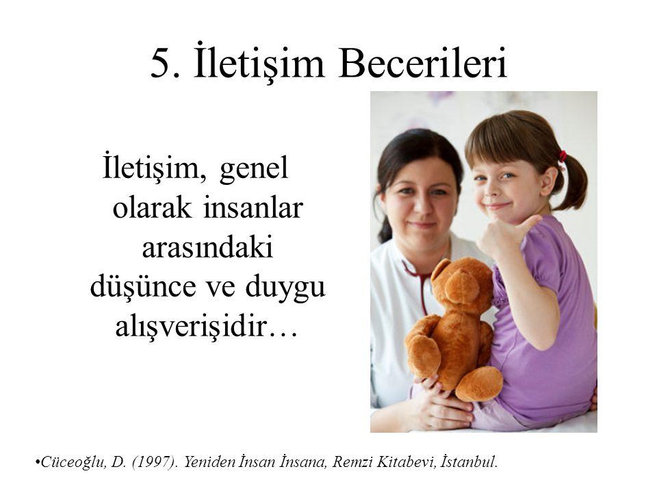 5. İletişim Becerileri İletişim, genel olarak insanlar arasındaki düşünce ve duygu alışverişidir…