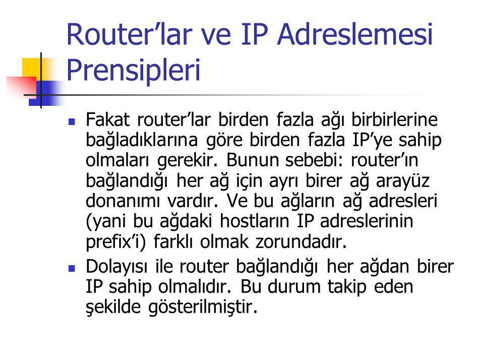 Router'lar ve IP Adreslemesi Prensipleri